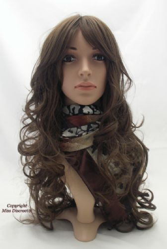 Long Chestnut Brown Wavy Loose Curl Full Head Wig
